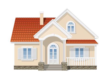 fachada: casa suburbana con un techo de tejas rojas Vectores