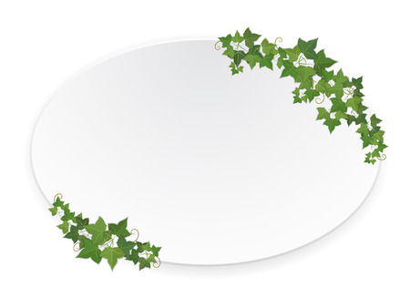 white grape: Paper ellipse banner decorated hanging ivy Illustration
