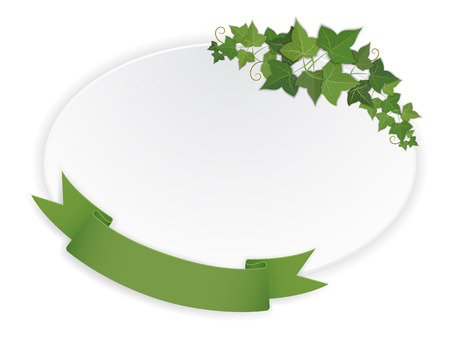 paper ellipse banner with hanging ribbon and vine