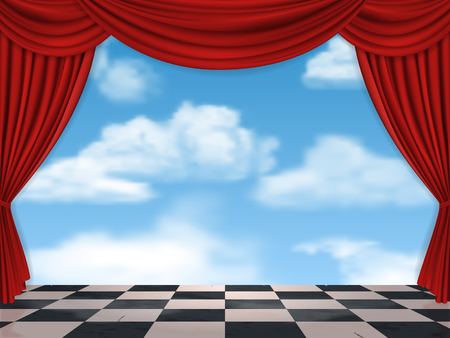 curtain to theater stage: Red curtains sky and chessboard - surreal vector background.