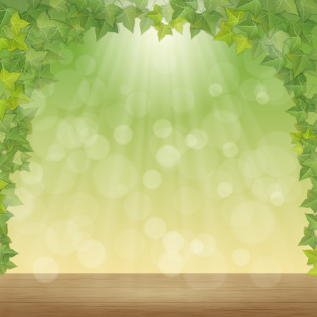 hojas y los rayos del sol de primavera - de vectores de fondo
