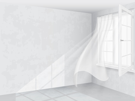 Window and curtains in bright interior Vectores