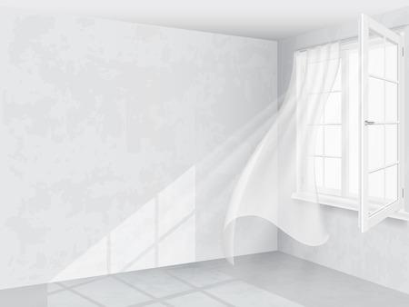 Venster en gordijnen in lichte interieur