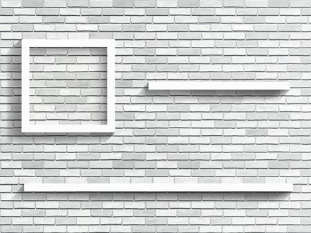 ladrillo: Estantes en la pared de ladrillo blanco - fragmento del interior. Vector de fondo arquitectónico. Vectores