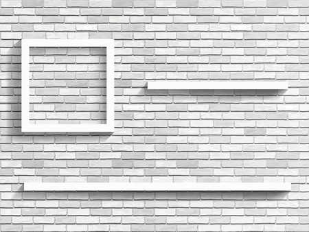 Shelves on white brick wall - fragment of the interior. Vector architectural background.