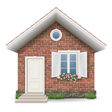 Malý cihlový bytový dům s oknem, dveřmi, trávy a květináče.