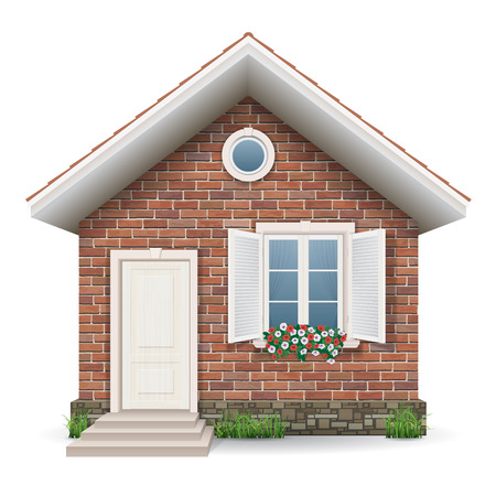 Small brick residential house with a window, door, grass and flower pots.