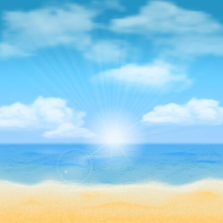 sea horizon: Sun over the sea horizon and the clouds. Vector background. Illustration