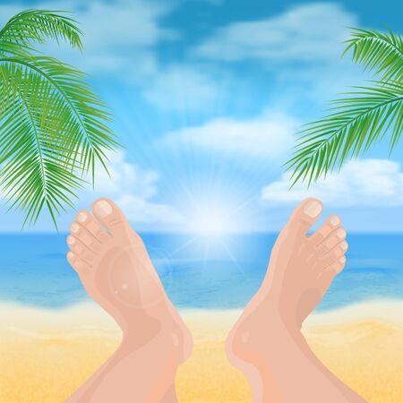 Mens feet on the beach