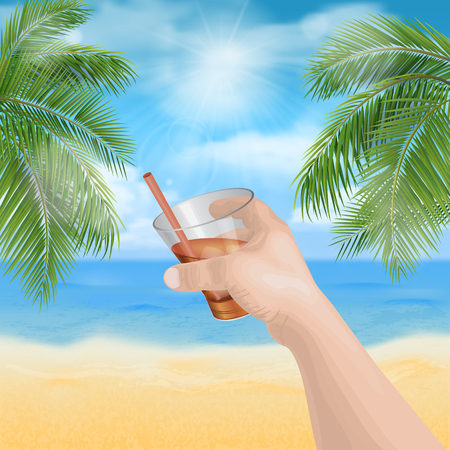 man's: mans hand holding a glass on the beach Illustration