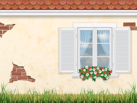 venster op de achtergrond van de oude muur van het huis