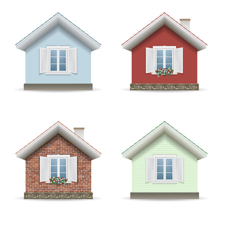 A vector set of four houses isolated facades of different materials. Stock Illustratie