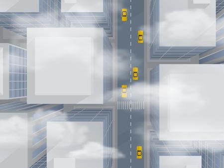 Urban wolkenkrabbers door de smog, bovenaanzicht - abstracte vector illustratie. Vector Illustratie