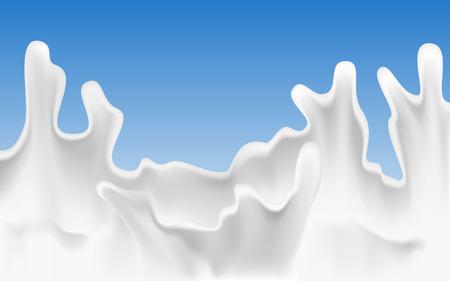 Milk splash on blue background. Vector illustration. Illustration