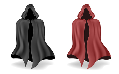 slicker: Black and red magic mantle with shadow on a white background.