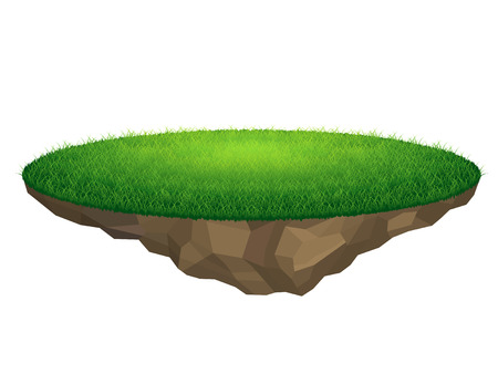 Flying island with grass, vector backdrop element