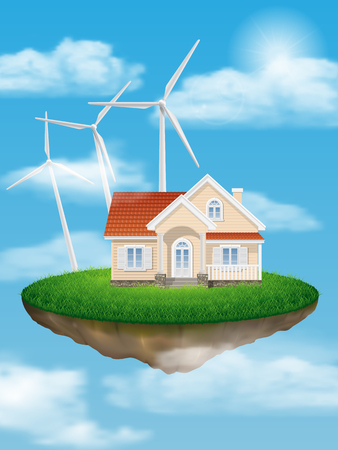 floating island: House with wind turbines on a floating island in the sky with clouds.