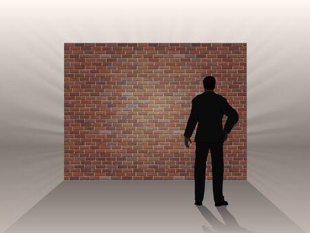 hombre pensando: El obstáculo en forma de una pared de ladrillo y el hombre piensa, un símbolo de las dificultades en el trabajo. Vectores