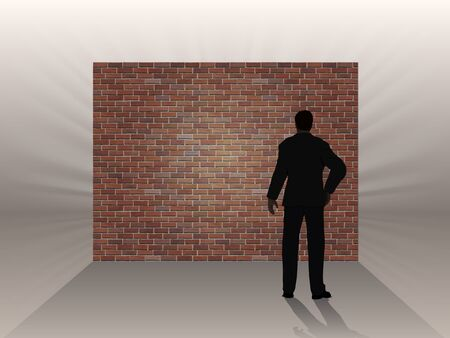 The obstacle in the form of a brick wall and thinking man, a symbol of the difficulties in the work.