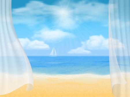 Estate sfondo Vista della spiaggia attraverso le tende. Archivio Fotografico - 41663995