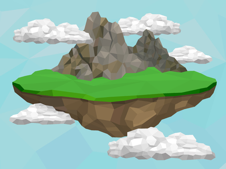 float: Floating island with mountain and meadow in the sky, vector low poly illustration. Illustration