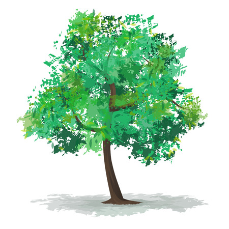 abstract tree: Green abstract tree with a crown formed from blots. Illustration