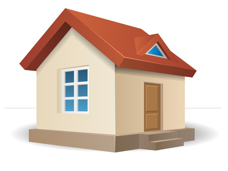 Residential house beige with a red roof, with a window and a door. Vector illustration of a building in perspective view. Stock Illustratie