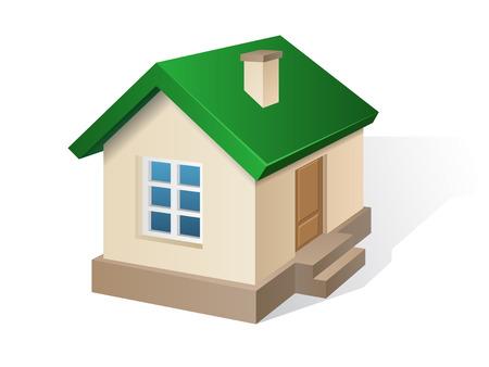 casa de campo: Amarillento Casa residencial con un techo verde, con una ventana y una puerta. Ilustración vectorial de un edificio en vista en perspectiva.
