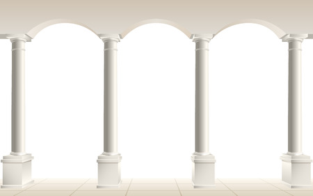 tuscan: Colonnade with arches on a white background, vector illustration