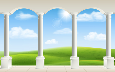 tuscan: Arches and columns on landscape background