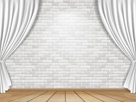 tela blanca: Etapa con las cortinas blancas sobre fondo de pared de ladrillo