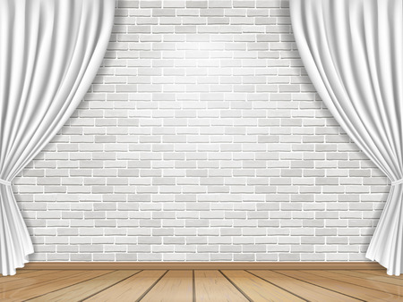 Stage with white curtains on brick wall background