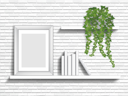 white wall: books and houseplant on white shelves on brick wall background