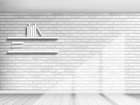 Interior with white brick walls and shelves with books. The light from the window illuminates the wall and parquet flooring. Architectural vector background.