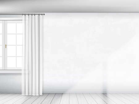 partial: A white wall with a window and curtains. Partial view of interior. Architectural realistic vector background.
