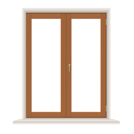 wooden window: Wooden window closed isolated on white background, detailed vector illustration.