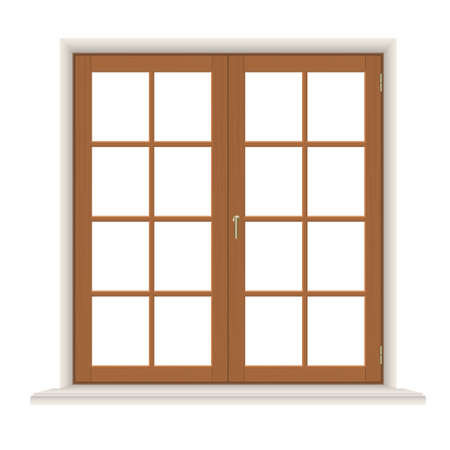 wooden window: Wooden window with casements, closed, isolated on white background, detailed vector illustration. Illustration