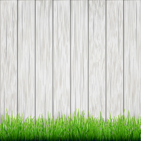 white wood: green grass on white wood boards background Illustration