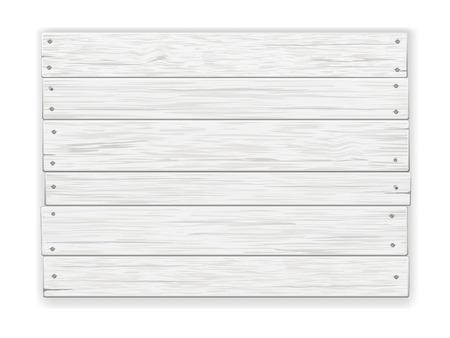 Lege oude witte rustieke houten bord, genageld, met schaduw. Realistische vector illustratie.
