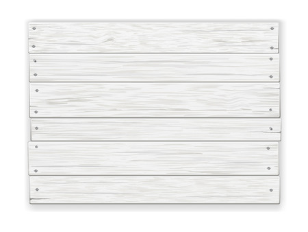 Empty old white rustic wooden sign, nailed, with shadow. Realistic vector illustration. Vectores