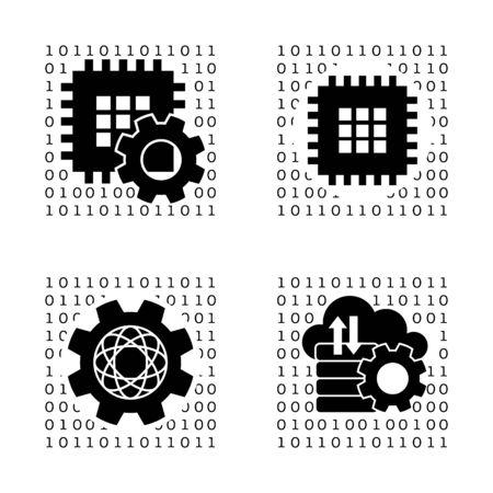 cloud service: Set the  symbolizing the setup, data processing, the Internet, cloud service, CPU, HDD.