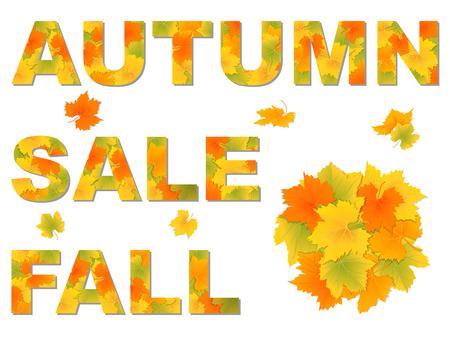fallen: Word autumn, fall, sale made of fallen leaves.