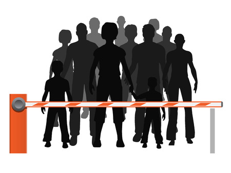 grupos de personas: Hombres, mujeres y niños refugiados están detrás de la barrera. Ilustración vectorial sobre refugiados probleme que no están permitidos.