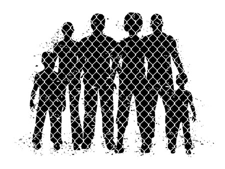 People behind wire fence. Vector illustration about probleme refugees. Vettoriali