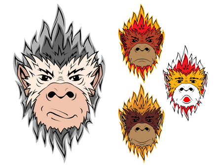 monkey face: Fire monkey. The head of a monkey painted of flames, symbol of new year 2016 on the Chinese calendar.