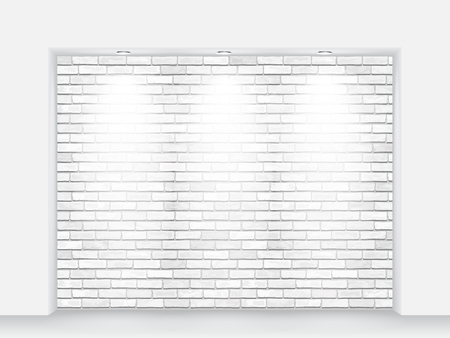niche: White brick niche with light beams. Interior vector background.