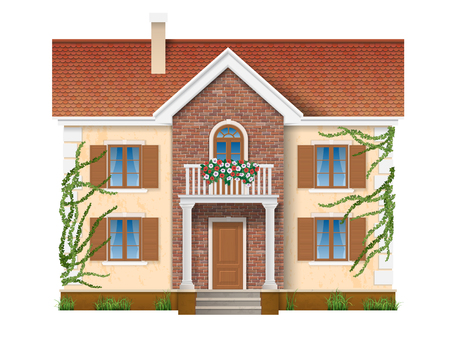 architecture design: Residential private house, two floors, with balconies with flowers and overgrown with ivy. Vector realistic illustration.  Isolated on white background.