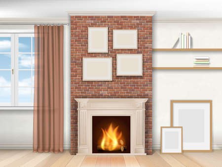 modern living room: Interior living room with fireplace and window. Realistic vector illustration.