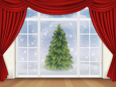 finestra: La vista dal soggiorno attraverso una finestra con tende rosse in strada, dove c'è un albero di Natale. sfondo vettoriale realistico per biglietto di auguri. Vettoriali