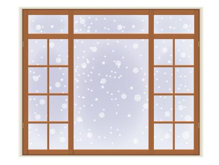 霜と雪で木製の窓。白い背景上に分離。
